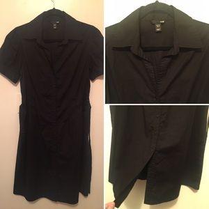 H&M Short Sleeve Button Down Shirt Dress Black 12